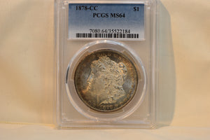 1878 CC Morgan Silver Dollar PCGS MS64 With Beautiful Lustre And Toning! CERT-35522184