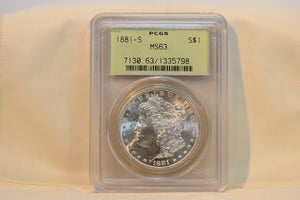 1881-S Beautiful Silver Dollar PCGS MS63 CERT-1335798