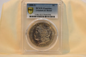 1888-S PCGS AU DETAIL CLEANED GOLD SHIELD AND TRUE VIEW RARE COIN! Genuine!