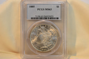 1885 PCGS MS63 Morgan Dollar Cert #26525518