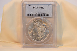 1887 PCGS MS63 Morgan Dollar Cert #20266955