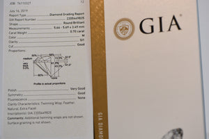 Natural Diamond 0.70CT M SI1 GIA REPORT #2205449825