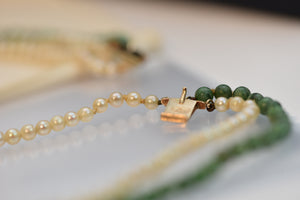 14K gold natural A Green Jadeite Jade Gia Certified Necklace & Bracelet Pearl and Solid Gold Backings and Clasps