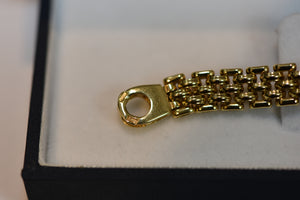 14k Solid yellow gold wide brick link bracelet circle line geometric 19.2g
