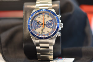 Tudor Heritage Chronograph Blue and Silver Dial Men's Watch - 70330B