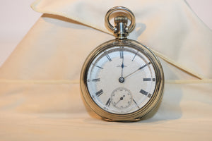 Rare Coin Silver Pocket Watch From 1882 Wm. Ellery Waltham Open Face Windup 150g of Silver