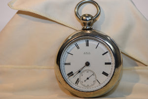 Whaltham P.S Bartlett Coin Silver Pocket Watch From 1884 162.86g Silver With Key Working!!