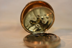 14k Solid Gold Pocket Watch  From 1902 37.59grams Side Winder Seaside Whaltham Diamond Works Perfectly
