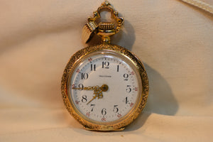 14k Solid Gold Pocket Watch 26.44grams From 1902 Ruby Waltham With Diamond on back Rare Movement!