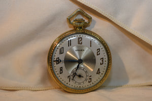 Antique 1920s GRUEN Swiss Made 15 Jewels Pocket Watch.