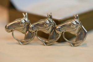 Lang Vintage 925 Sterling Silver Horses Good Luck Pin Brooch
