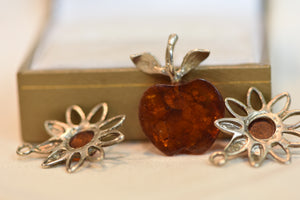 Amber Apple Pendant And Two Flower Charms 925 Silver 5g 3pc Set
