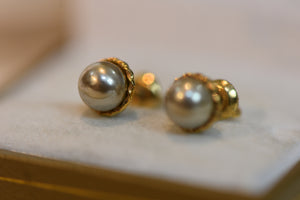 10K Solid Gold Earrings With Screw Down Backs Main Stone Matching Pearls 1.83g