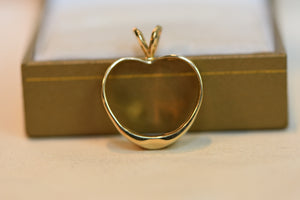 14K Solid Gold Apple Charm Pendant With Two Beautiful Diamonds 4g