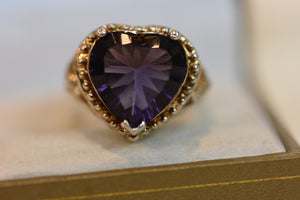 Sterling Silver Ring 925 GP Purple Heart Shaped Crystal Size 9 8.08g