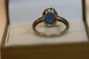 Sterling Silver Ring Blue Crystal Center Looks Like Opal Size 8 2.57g