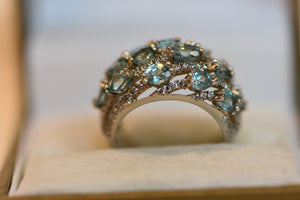 Sterling Silver Ring With Blue Crystal And Cz Stones Size 7 (925) 7.48g
