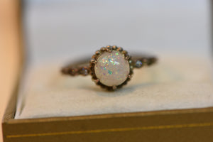 Sterling Silver Ring Opal Design With Other Crystals Size 9 (925) 2.08g
