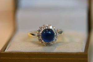 Sterling Silver Ring With Center Blue Stone With CZ Crystal Size 9 (925) 4.33 g