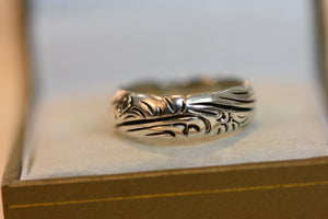 Beautiful Sterling Silver Band With Patterns (925) Size 7.5 5.98g