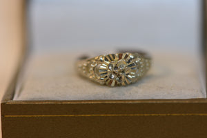 Sterling Silver Ring Flower Pattern Size 7 1.89g (925) Beautiful Floral Design