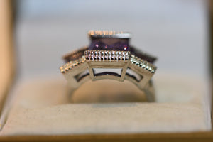 Sterling Silver Ring With Big Square Cut Purple Amethyst Crystals (925) Size 7 6.50g