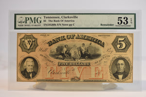 Tennesse, Clarksville $5 The Bank Of America TN15G60b S/N None pp C 53 EPQ PMG Remainder AU