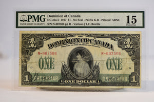 Dominion of Canada DC-23A-II 1917 $1 - No Seal - Prefix -K-R - Printer: ABNC PMG 15 Choice Fine