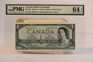 Bank of Canada 1954 $1 Devil's Face PMG CH64 EPQ BC-29b S/N R/A 6857778