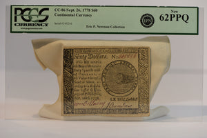 CC-86 $60 SEPT 26,1778 CONTINENTAL CURRENCY PCGS 62 PPQ UNC Serial # 245256