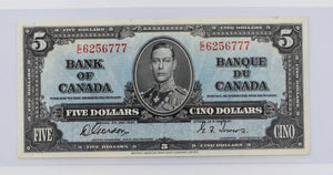Bank of Canada 1937 $5 BCS Very fine 30 BC-23b Gordon Towers