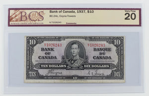 Bank of Canada 1937 $10 BC-24c Coyne - Towers BCS Very Fine 20