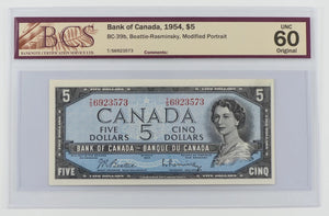 Bank of Canada 1954 $5 BCS UNC 60 BC-39b Beattie Rasminsky Modified Portrait