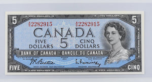 Bank of Canada 1954 $5 BCS Choice UNC 62 BC-39b Beattie Rasminsky Modified Portrait