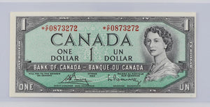 Bank of Canada 1954 $1 BCS Choice UNC 64 BC-37cA Bouey-Rasminsky Modified Portrait Replacement