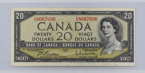Bank of Canada 1954 $20 BCS  Almost Unc. 50 BC-41b Beattie - Rasminsky Modified Portrait