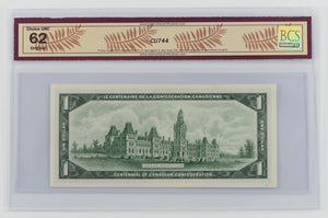 Bank of Canada 1967 $1 BC-45b-i Beattie-Rasminsky BCS Choice UNC 62