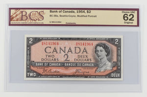 Bank of Canada 1954 $2 BCS Choice UNC 62 BC-38a Beattie Coyne Modified Portrait