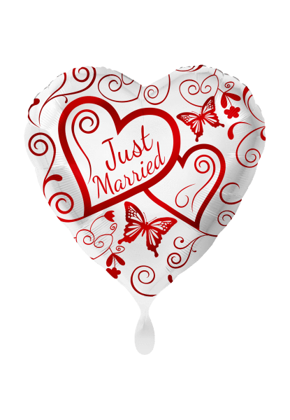 Folienballon Just married rot - 2-seitig bedruckt - DWB online