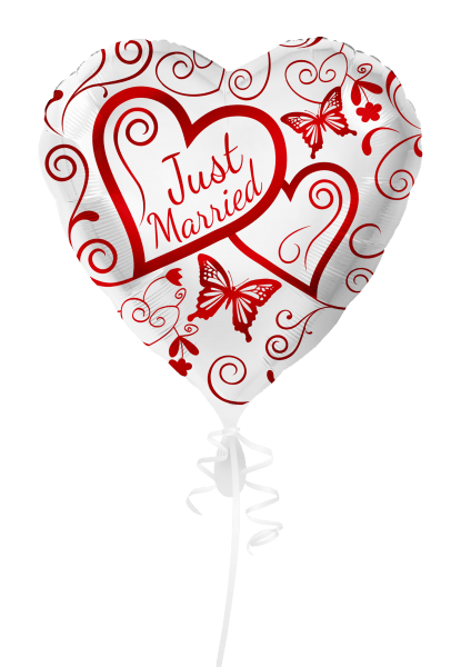 Folienballon Just married rot XL - 2-seitig bedruckt - DWB online