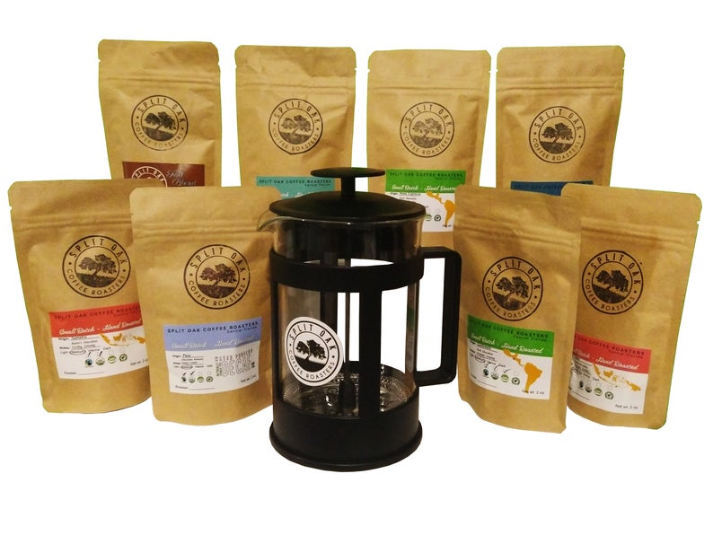 Coffee Gift Box Set 8 assorted coffees +1 French Press Coffee Maker an amazing gift (Sumatra, Timor,Uganda,Ethiopia,Colombia,Guatemala +2)