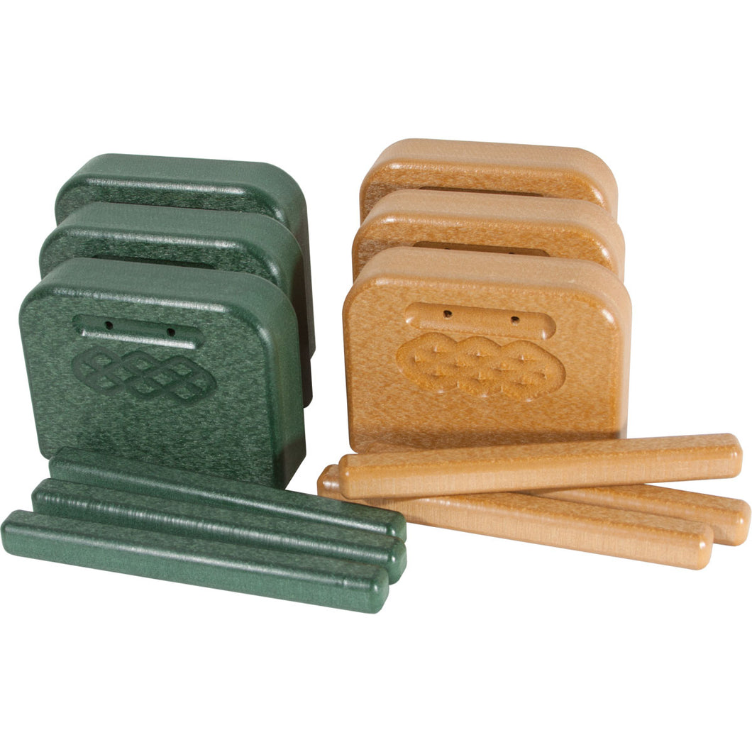 PlayMore Design Eco Tone Blocks with Strikers (Set of 6) - Green/Cedar