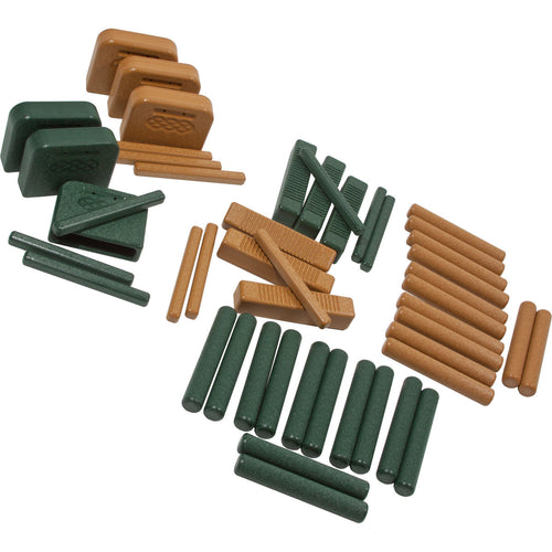 PlayMore Design Eco Percussion Set (24 Recycled Plastic Instruments) - Green/Cedar
