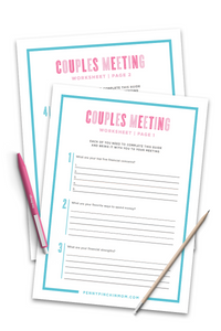 Couples Financial Meeting Workbook (2 Pages)
