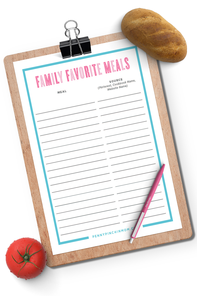 Favorite Family Meals List