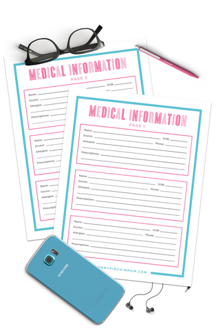 Medical Information Form (2 Pages)