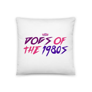 """Dogs of the 80s"" White Throw Pillow"