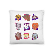 "Load image into Gallery viewer, ""Dogs of the 80s"" White Throw Pillow"
