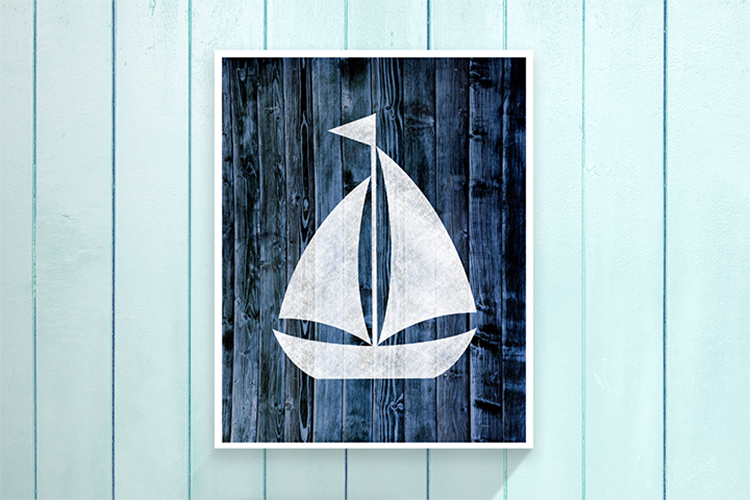 "Nautical Sailboat - Blue -  8.5x11"" Print"
