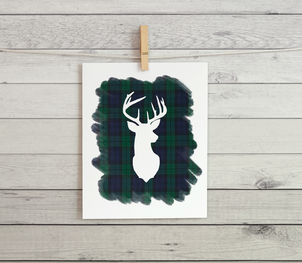 "Deer Silhouette (Blue Plaid) -  8.5x11"" Print"
